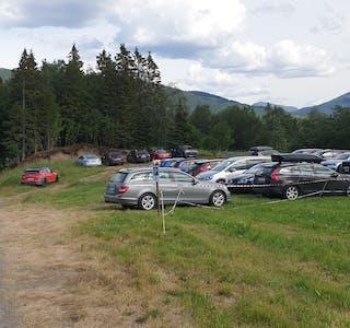 Ole Reidar Davidsen måtte sette av en del av en åker til parkering da det var fullstendig kaos med parkeringer på begge sidene av veien ned mot badeplassen i sommer. Det var var ikke fremkommelig slik de hadde parkert de første dagene da finværet kom, sier Davidsen som driver jorda her.
