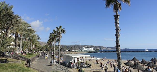 De som ønsker palmesus i Syden bør bestille billetter som har kostnadsfri avbestilling eller ombooking, er rådet fra forsikringsselskapene. Her ser vi strandpromenaden i Los Cristianos på Tenerife.