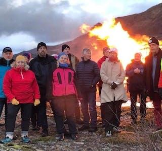 Motvind Sjonfjellet samlet rundt 100 mennesker til markering av sin motstand mot det planlagte vindkraftverket på Sjonfjellet.